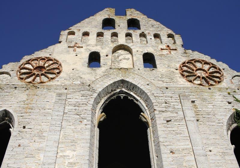 中世纪圣尼古拉斯教会废墟在维斯比,哥得兰岛,瑞典 免版税库存图片