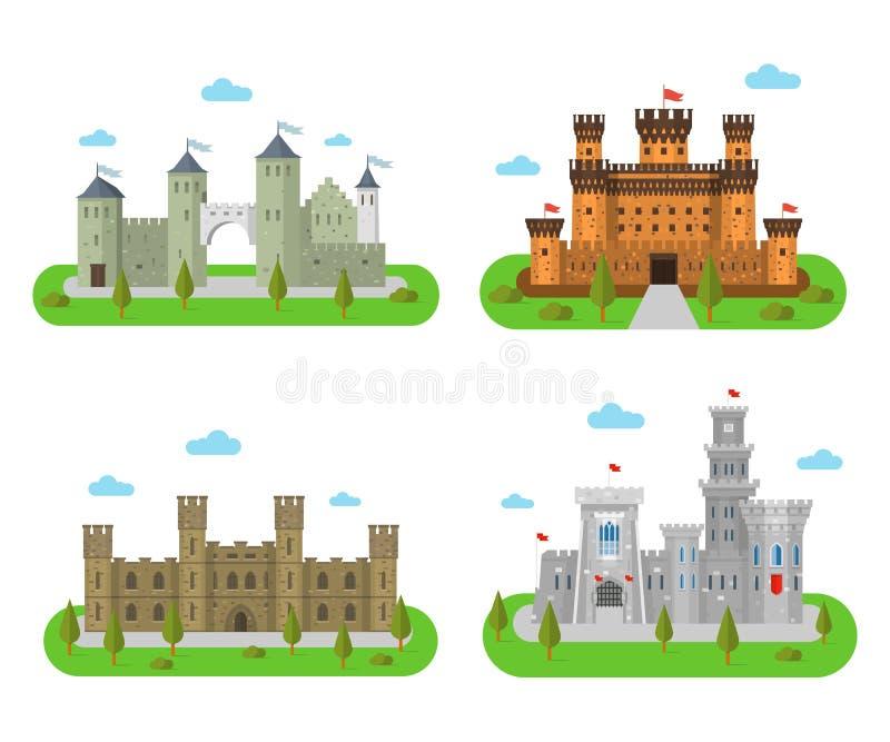 中世纪城堡、堡垒和本营一个平的样式的 向量例证