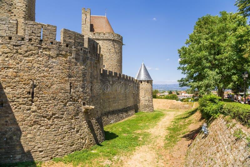 中世纪城堡在卡尔卡松,法国 联合国科教文组织名单 库存照片