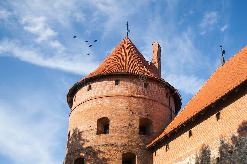 中世纪城堡塔在特拉凯,立陶宛 图库摄影