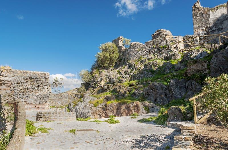 中世纪城堡墙壁 库存照片