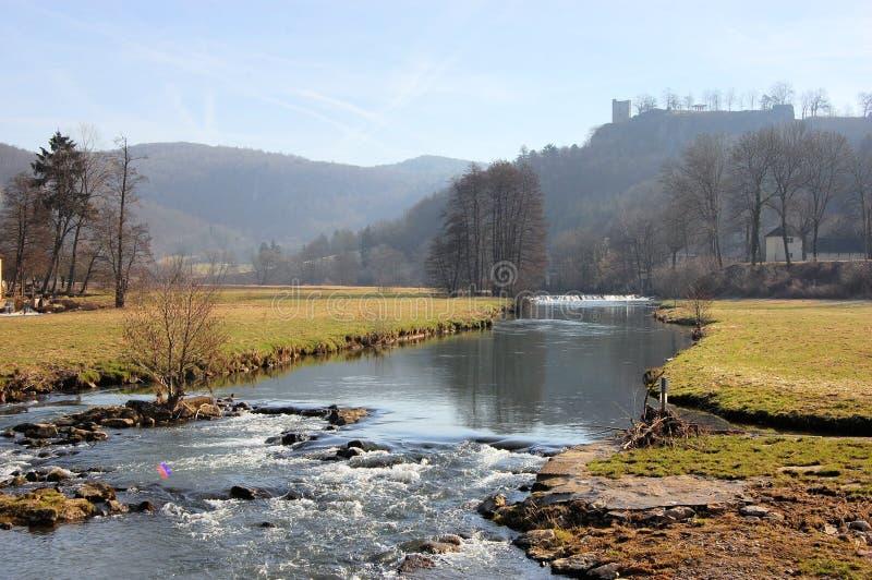 中世纪城堡废墟Neideck,德国 免版税库存图片