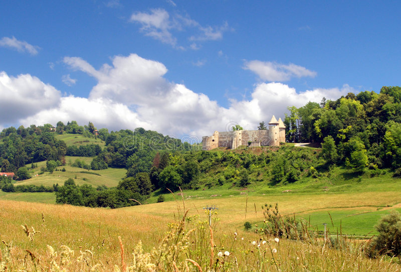 中世纪城堡的克罗地亚人 库存照片