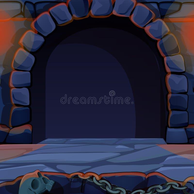 中世纪城堡的拱道 葡萄酒建筑学 传染媒介动画片特写镜头例证 向量例证