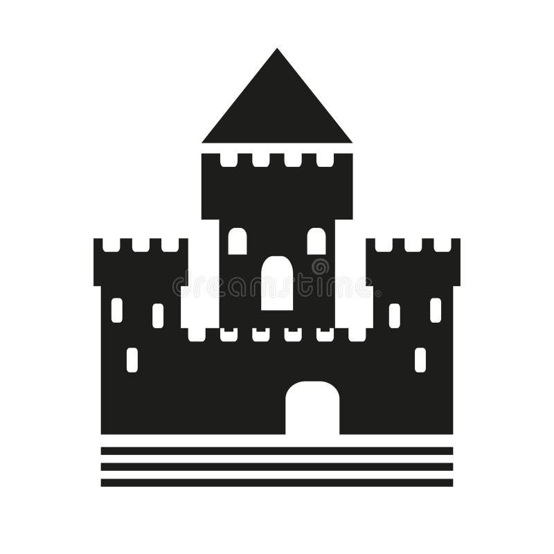 中世纪城堡的风格化剪影 库存例证