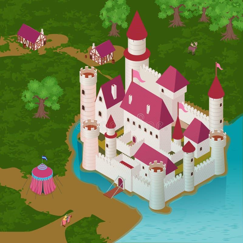 中世纪城堡等量例证 库存例证