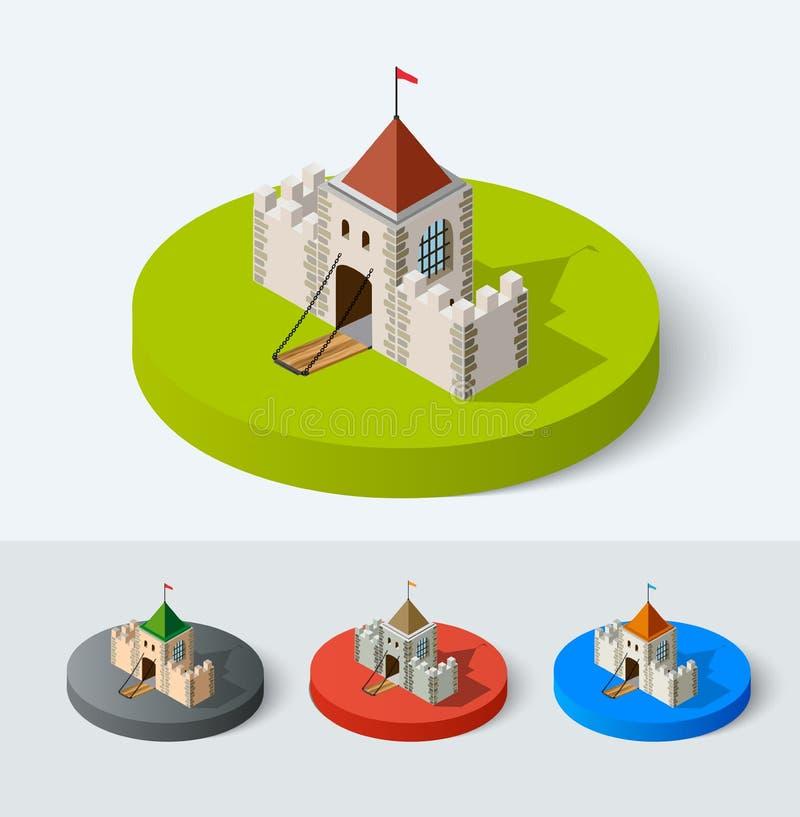 中世纪城堡象 向量例证