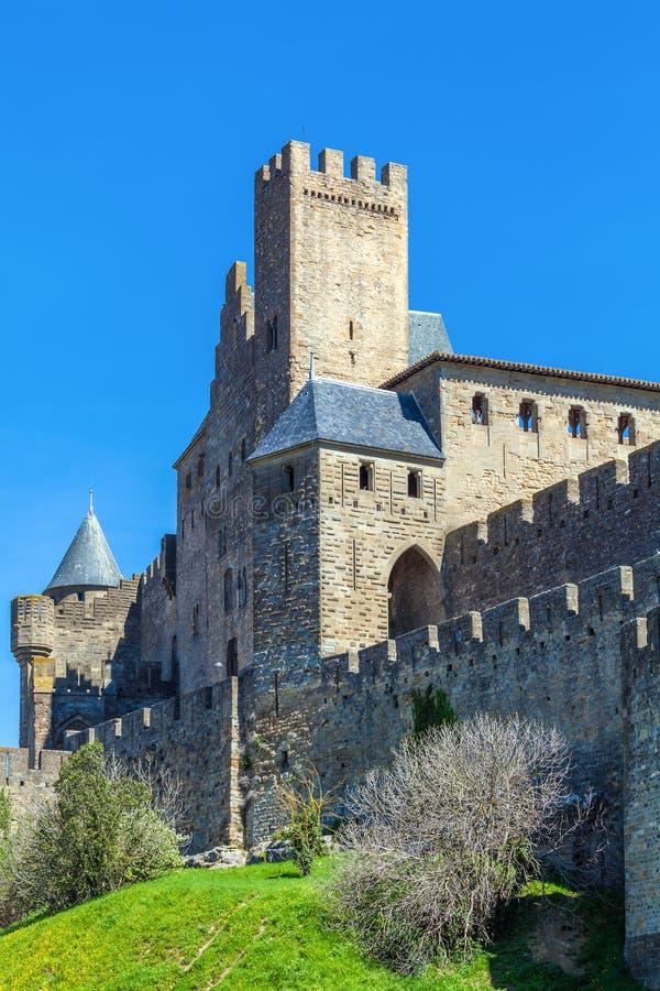 中世纪城堡,卡尔卡松塔  库存照片