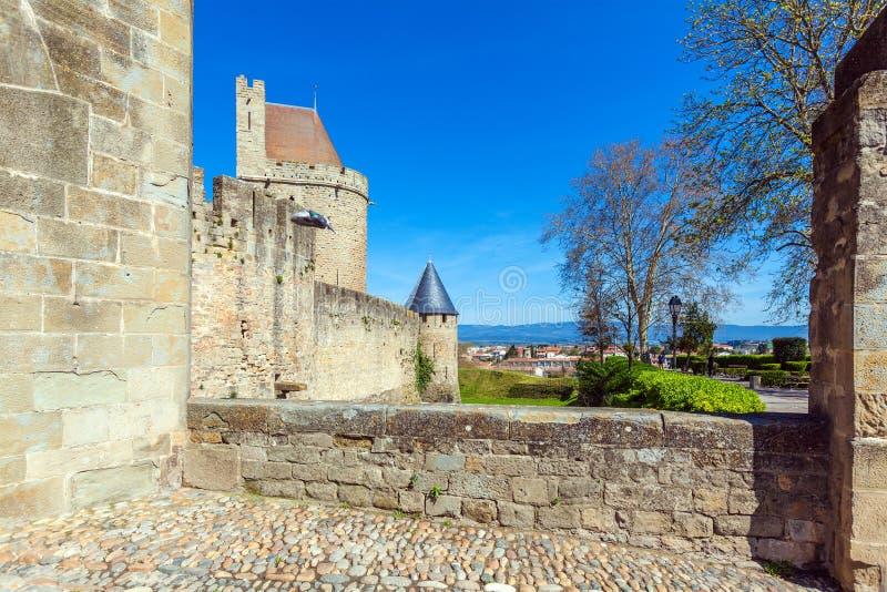 中世纪城堡,卡尔卡松塔  免版税库存照片