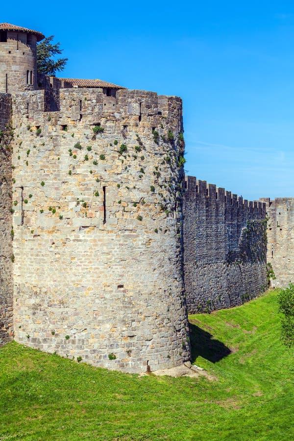 中世纪城堡,卡尔卡松塔  免版税库存图片