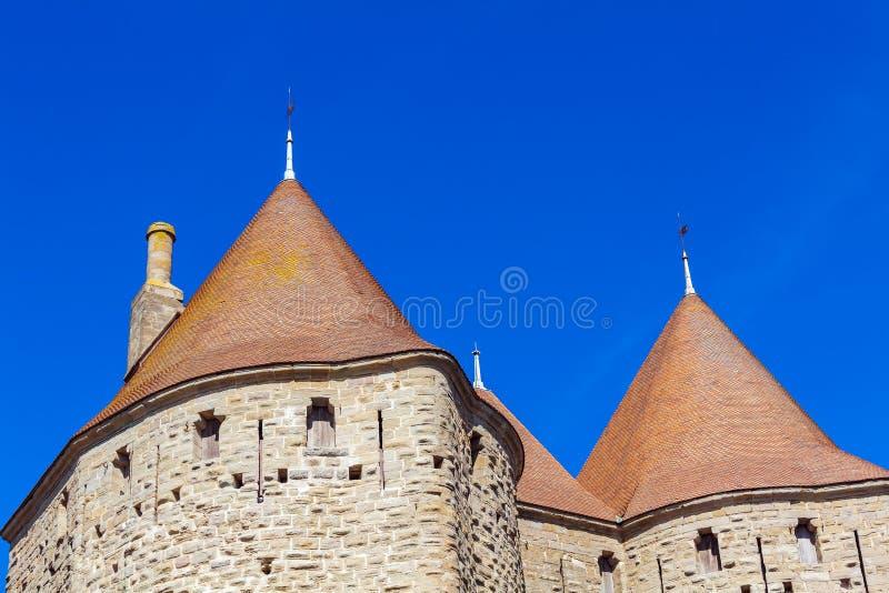 中世纪城堡,卡尔卡松塔  库存图片