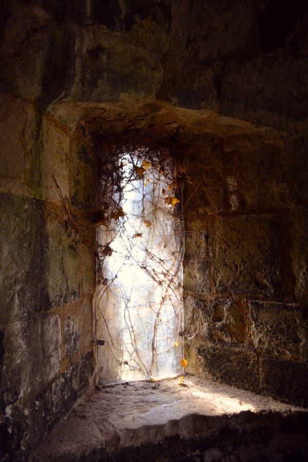 中世纪城堡, Carisbrooke城堡,纽波特,怀特岛郡,英国老哥特式被困扰的窗口  库存图片