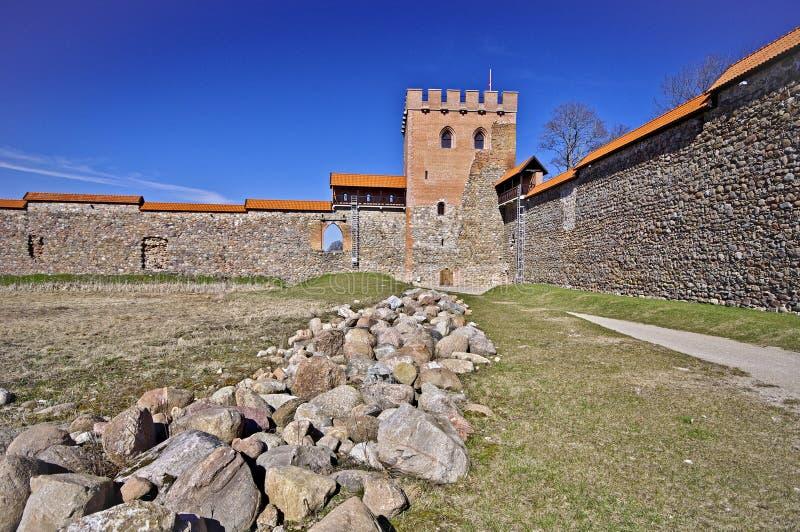 中世纪城堡, Medininkai,立陶宛 免版税库存图片