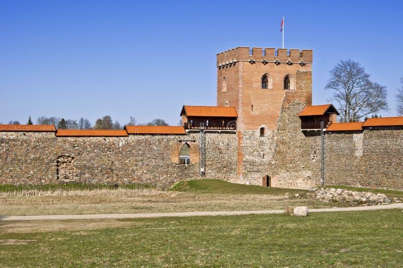 中世纪城堡, Medininkai,立陶宛 库存照片