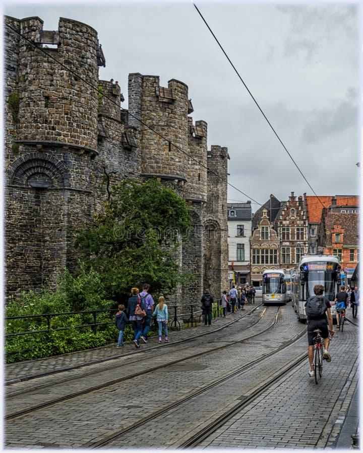 中世纪城堡Gravesteen在跟特,比利时 免版税库存照片