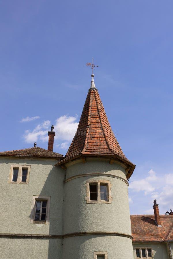 中世纪城堡Schonborn的塔在乌克兰 库存图片