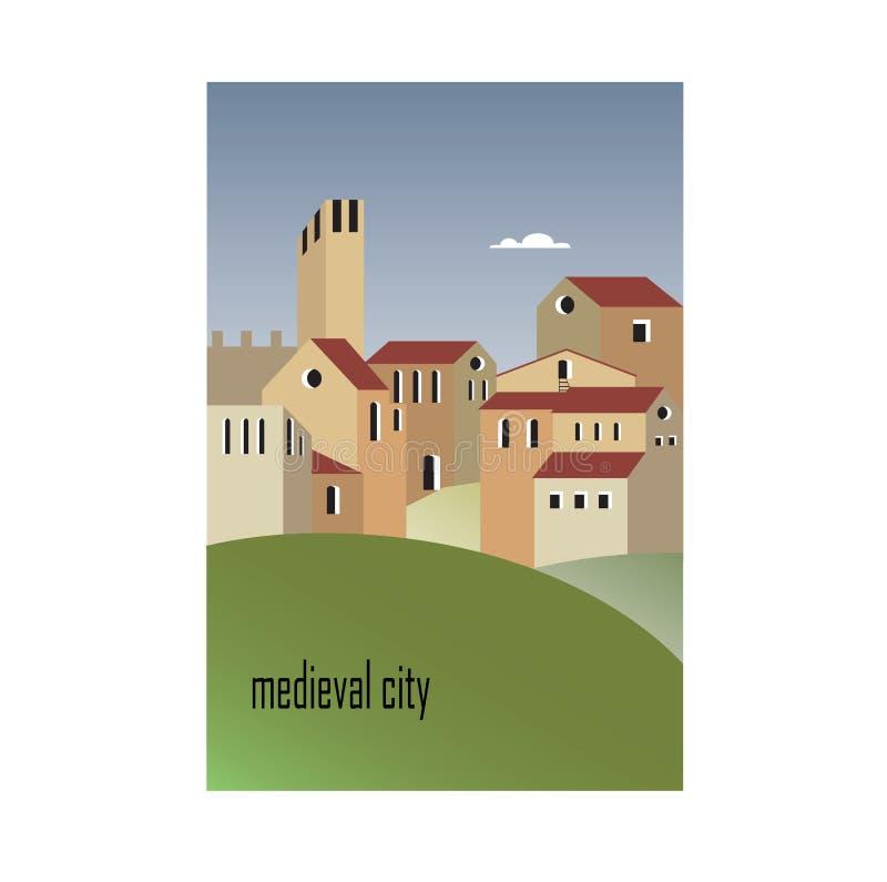 中世纪城市的议院 库存例证