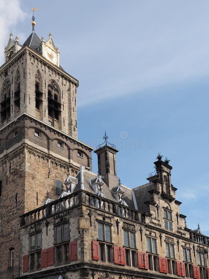 中世纪城镇厅的建筑细节在市德尔福特 免版税库存图片