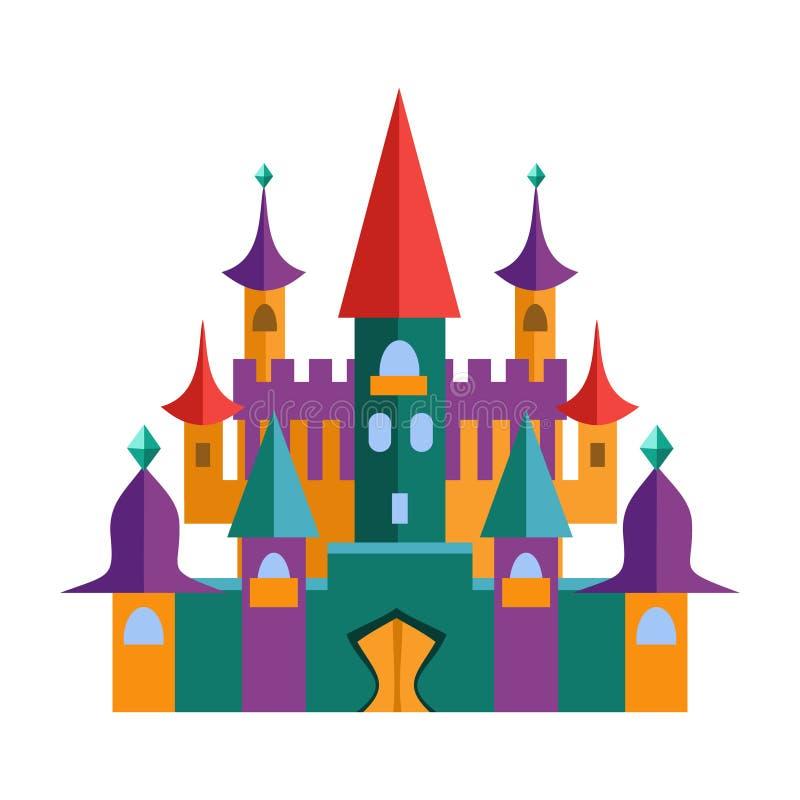中世纪堡垒和元素比赛的 平的传染媒介 库存例证