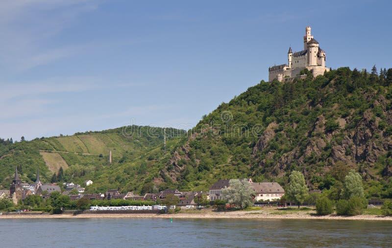 中世纪堡垒的marksburg 图库摄影