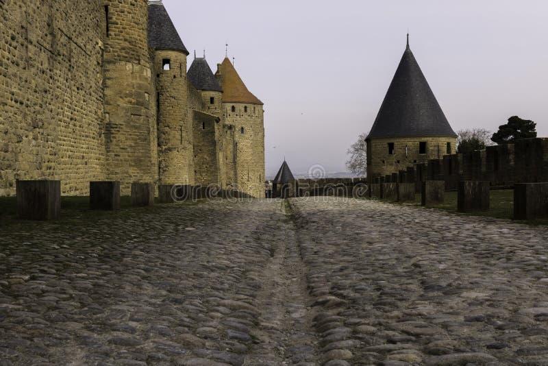中世纪塔,卡尔卡松,法国, 2018年2月24日 库存图片