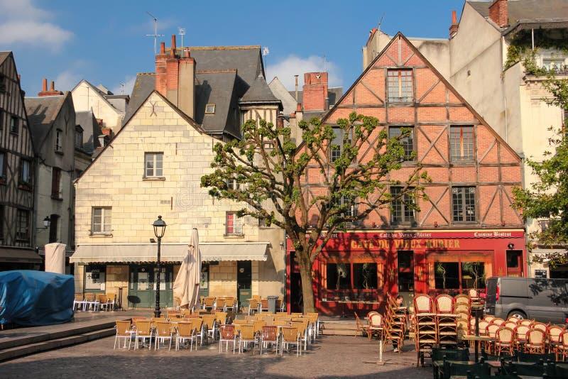 中世纪大厦在地方Plumereau 浏览 法国 免版税图库摄影