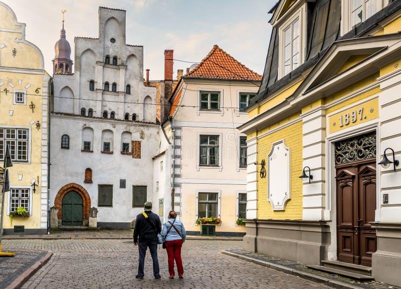 中世纪大厦在里加,拉脱维亚历史区  库存图片