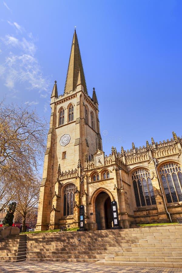 中世纪大教堂在韦克菲尔德,英国 库存图片