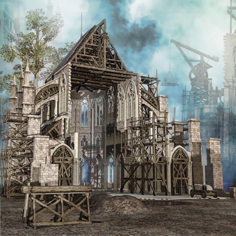 中世纪大教堂在建筑 向量例证