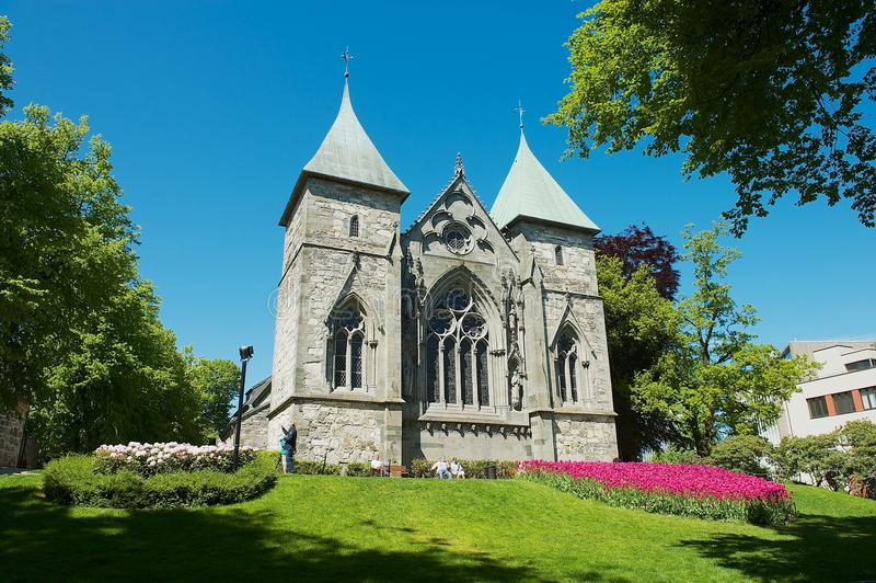 中世纪大教堂的东部门面在斯塔万格,挪威 免版税库存照片