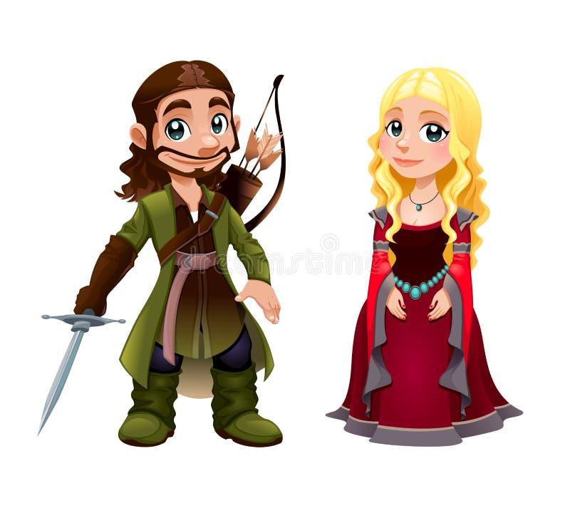 中世纪夫妇:骑士和公主 向量例证