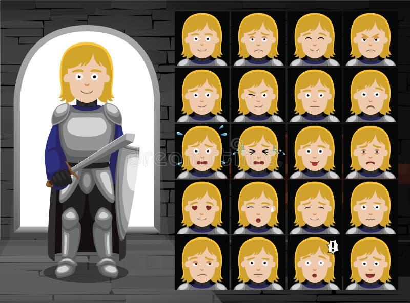 中世纪富裕的骑士动画片情感面对传染媒介例证 向量例证