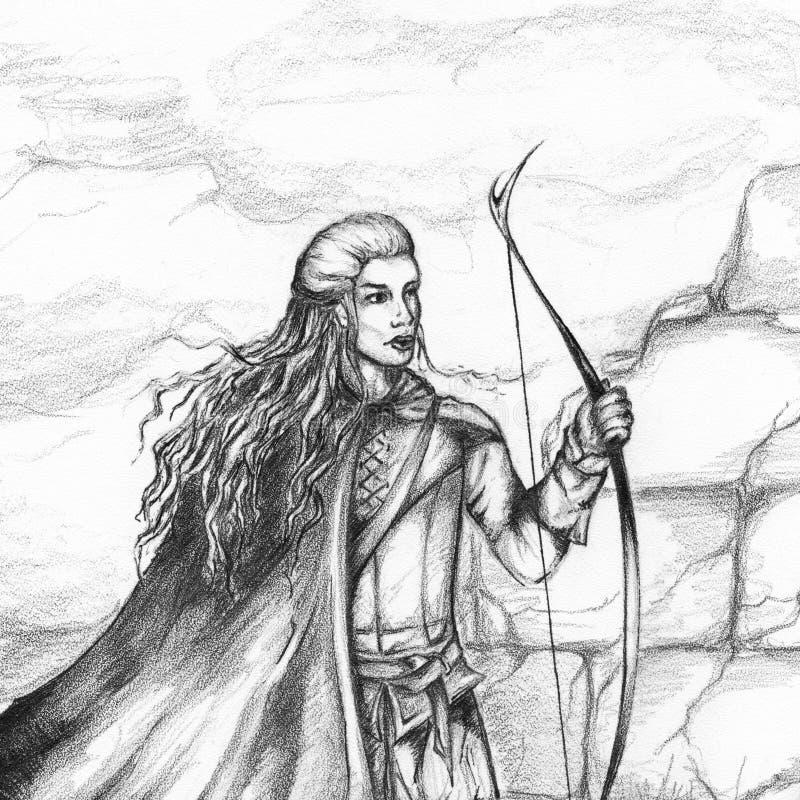 中世纪射手猎人前浆手单色铅笔剪影 向量例证
