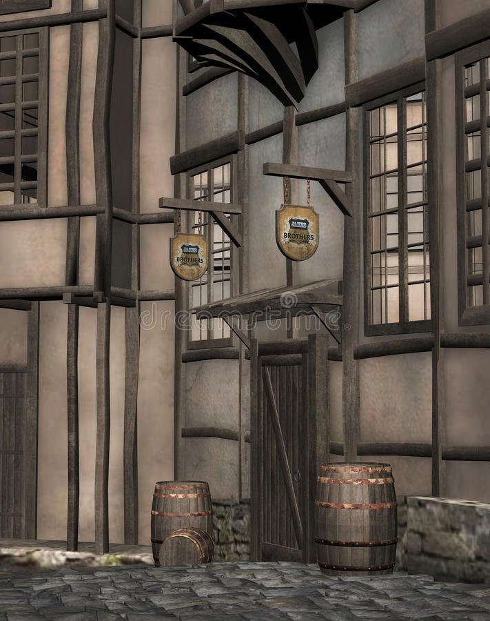 中世纪小酒馆 向量例证