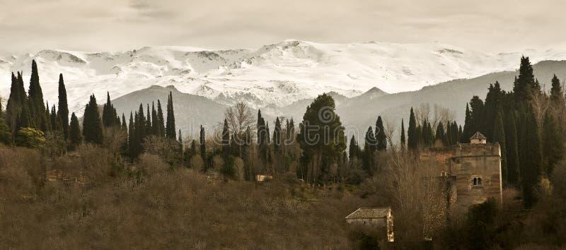 中世纪山脉塔 免版税库存照片