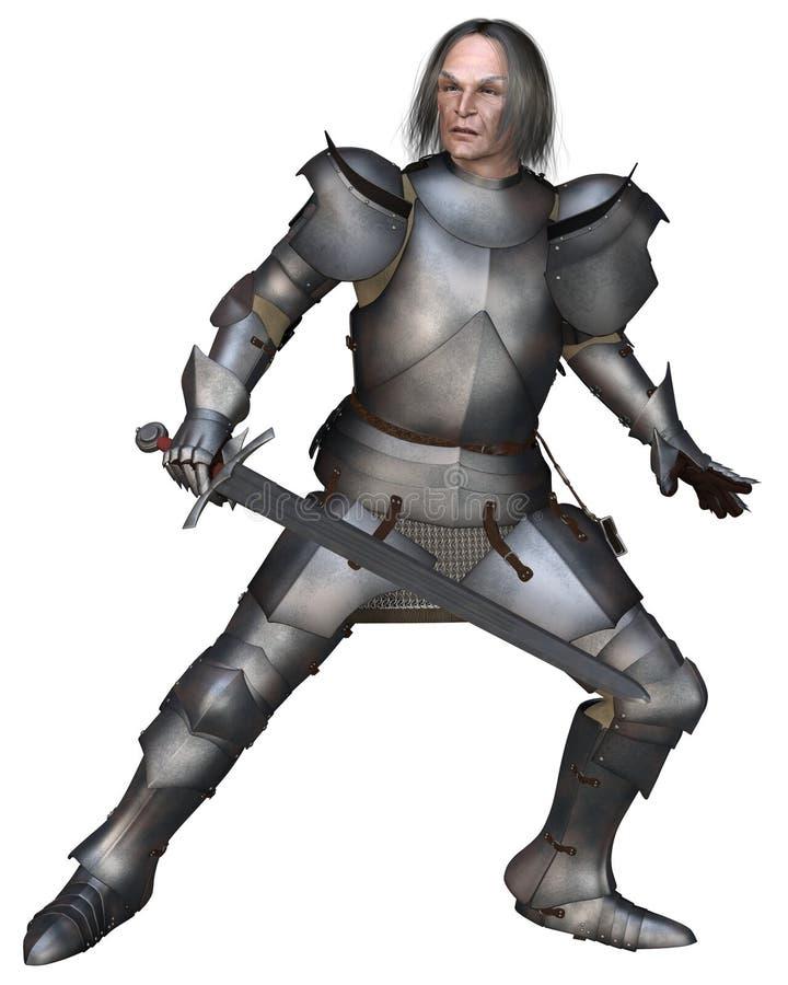 中世纪年长战斗的骑士 库存例证