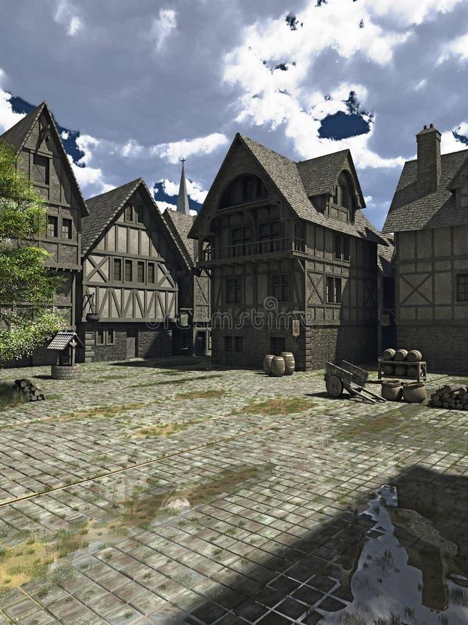 中世纪或幻想镇中心 库存例证