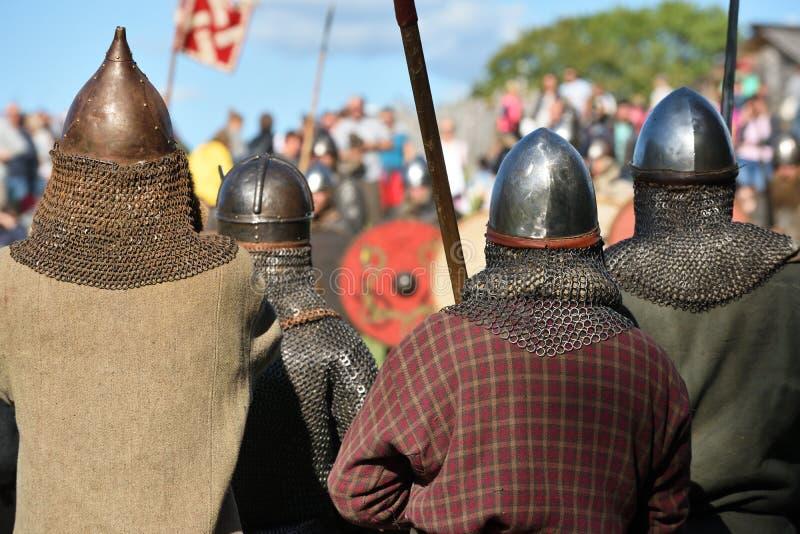 中世纪战斗在立陶宛 免版税图库摄影