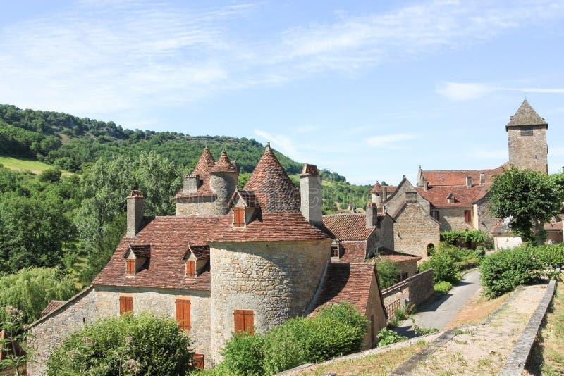中世纪房子的风景看法,奥图瓦尔,全部,法国 免版税库存图片