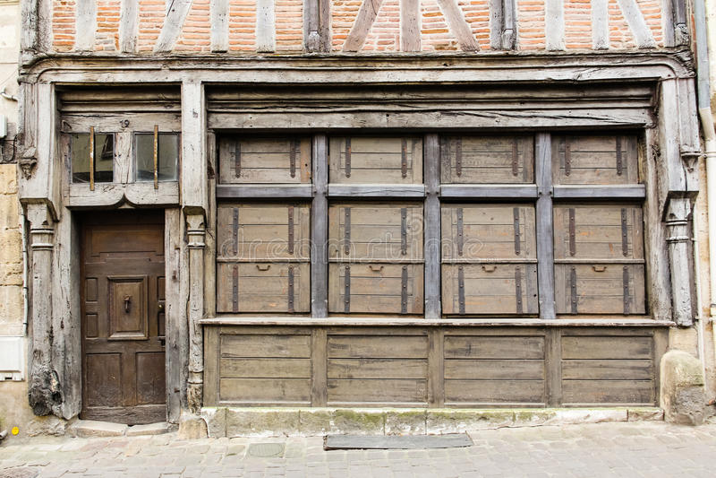 中世纪房子门面 希农 法国 免版税库存图片