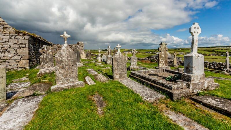 中世纪教会Killilagh和坟园的废墟的看法在Doolin村庄  库存图片