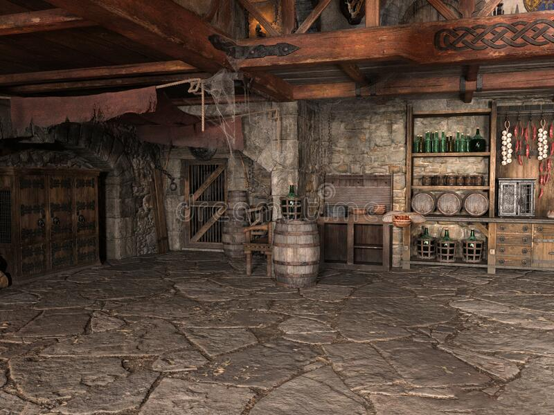 中世纪旅馆、小酒馆、酒吧、背景 免版税库存图片