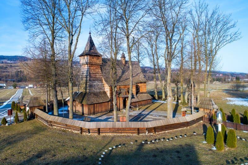 中世纪木教会在Debno,波兰 免版税图库摄影