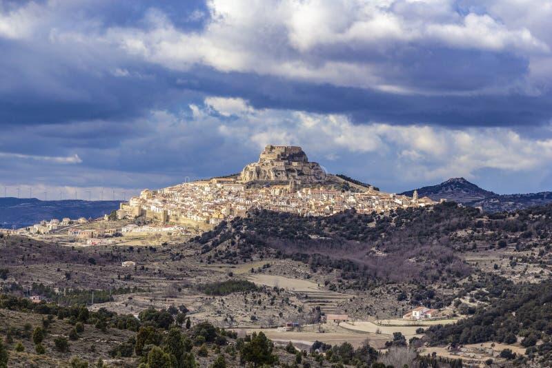 中世纪村庄莫雷利亚,卡斯特利翁省,西班牙看法  免版税库存图片