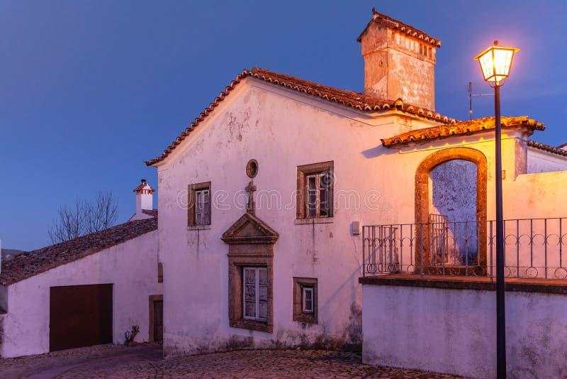 中世纪村庄马尔旺的美丽如画的房子在葡萄牙 免版税图库摄影