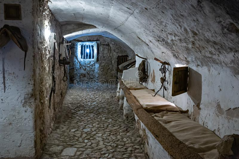 中世纪槽枥内部在西班牙 免版税库存图片