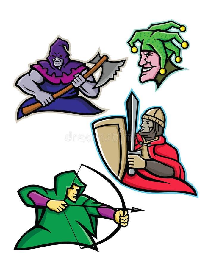 中世纪法院字符吉祥人收藏 库存例证