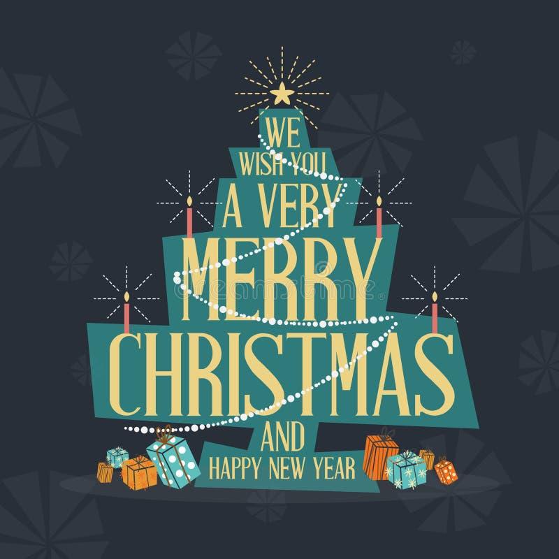 中世纪现代圣诞快乐贺卡 传染媒介illustr 向量例证