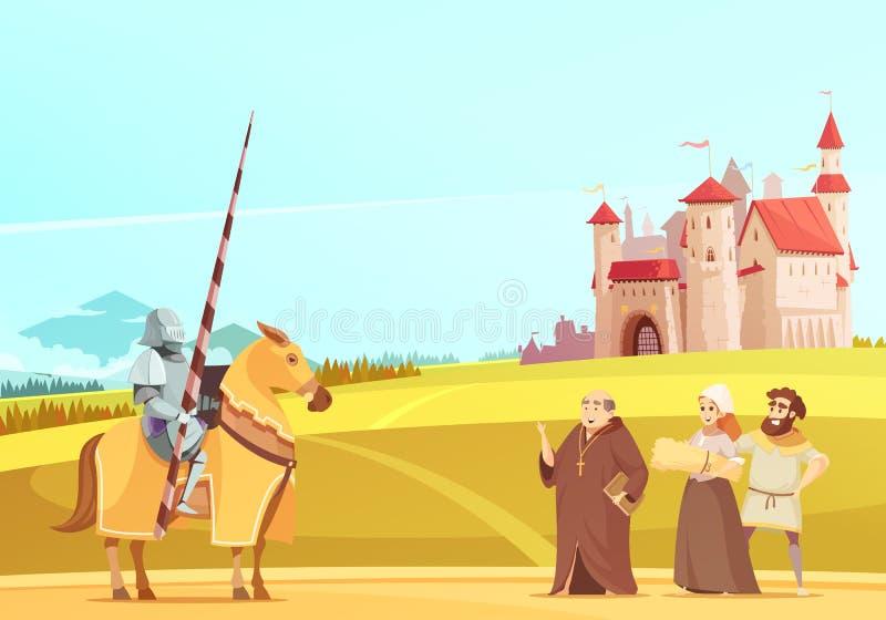 中世纪生活场面动画片海报 库存例证