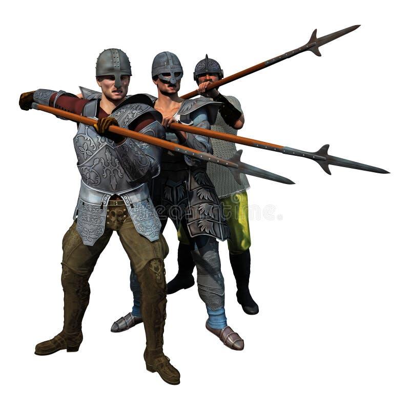 中世纪用矛者 皇族释放例证